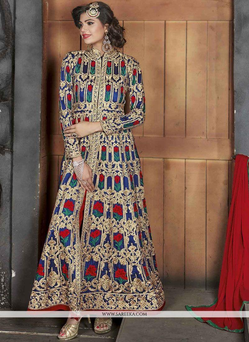Zari Work Art Silk Multi Colour Floor Length Anarkali Suit
