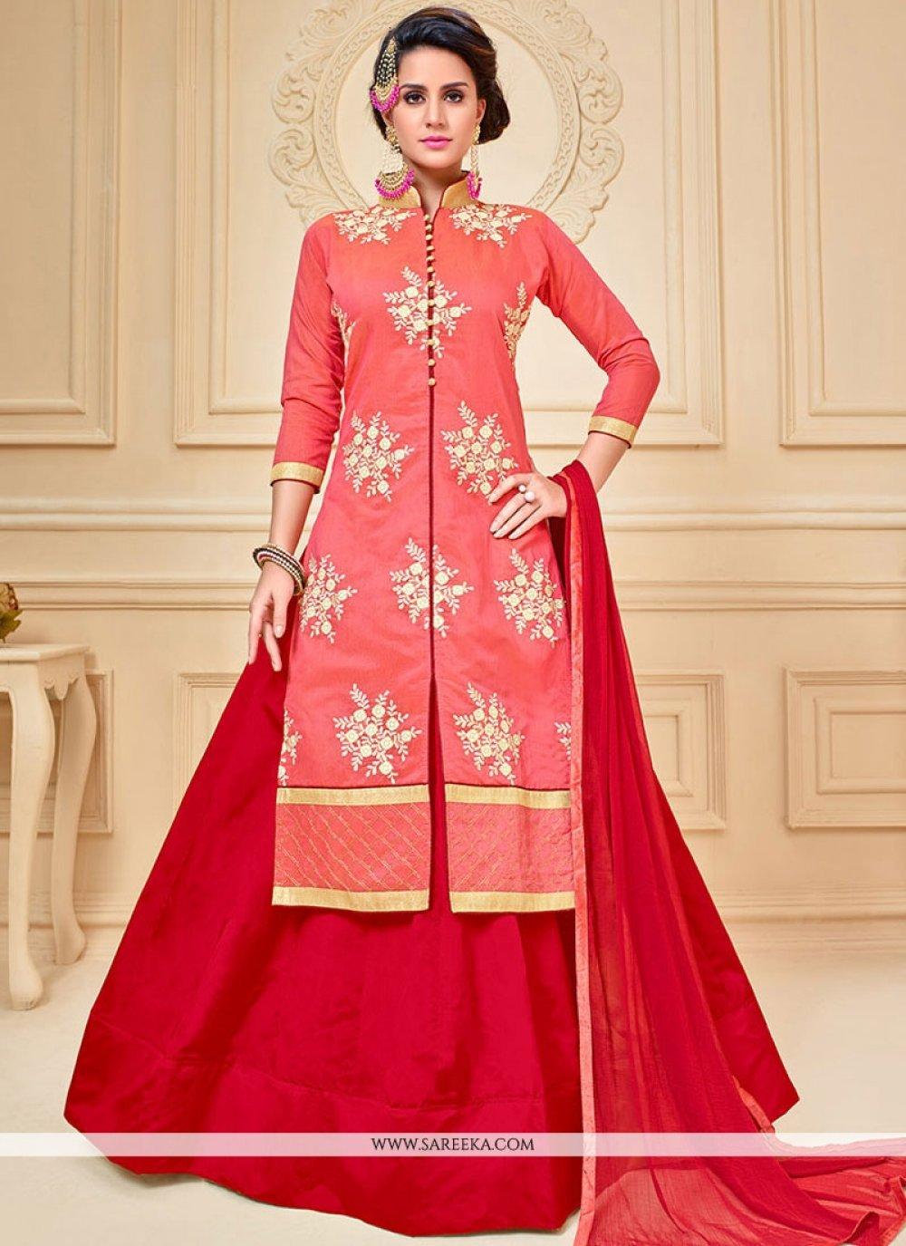 Chanderi Cotton Lace Work Long Choli Lehenga