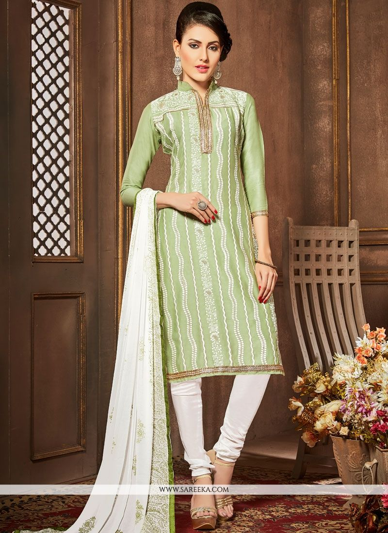 Embroidered Work Cotton   Green Churidar Designer Suit