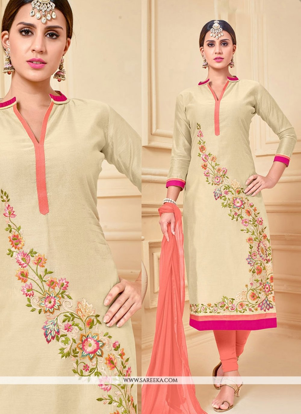 Lace Work Chanderi Cotton Beige Churidar Suit