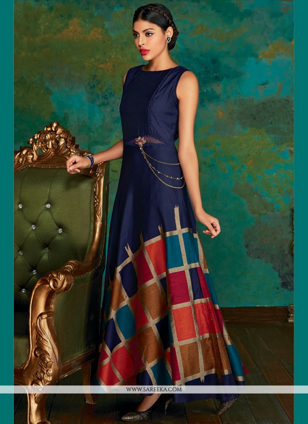 Navy Blue Weaving Work Banarasi Silk Readymade Suit