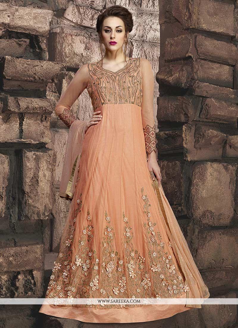 Buy resham work orange net floor length anarkali suit for Floor length anarkalis