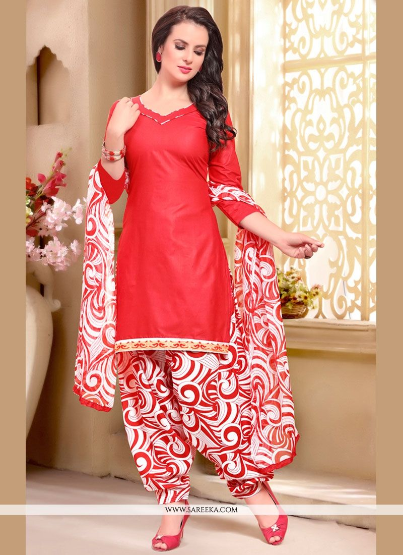 Appealing Cotton   Red Print Work Punjabi Suit