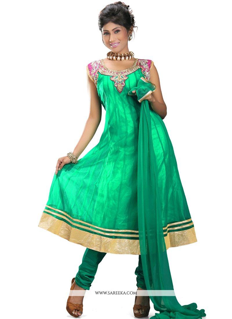 520aaa4469 Buy Lace Work Green Net Readymade Anarkali Suit Online : Malaysia -