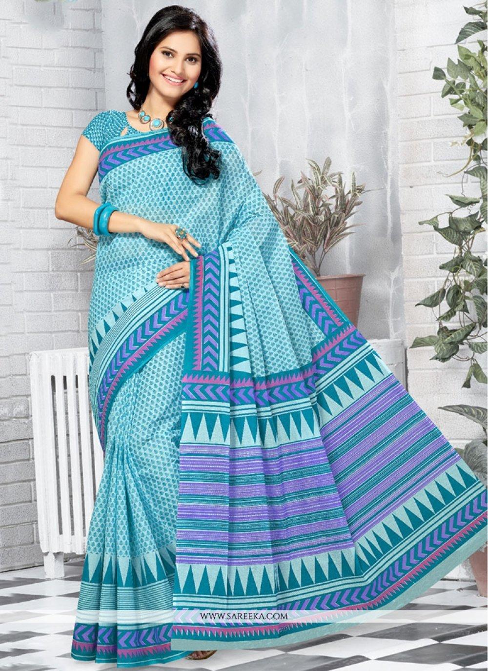 Cotton   Turquoise Printed Saree