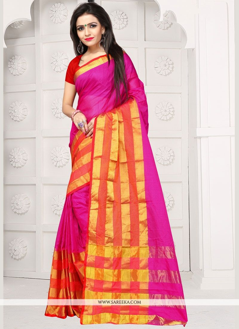 Hot Pink Weaving Work Manipuri Silk Traditional  Saree