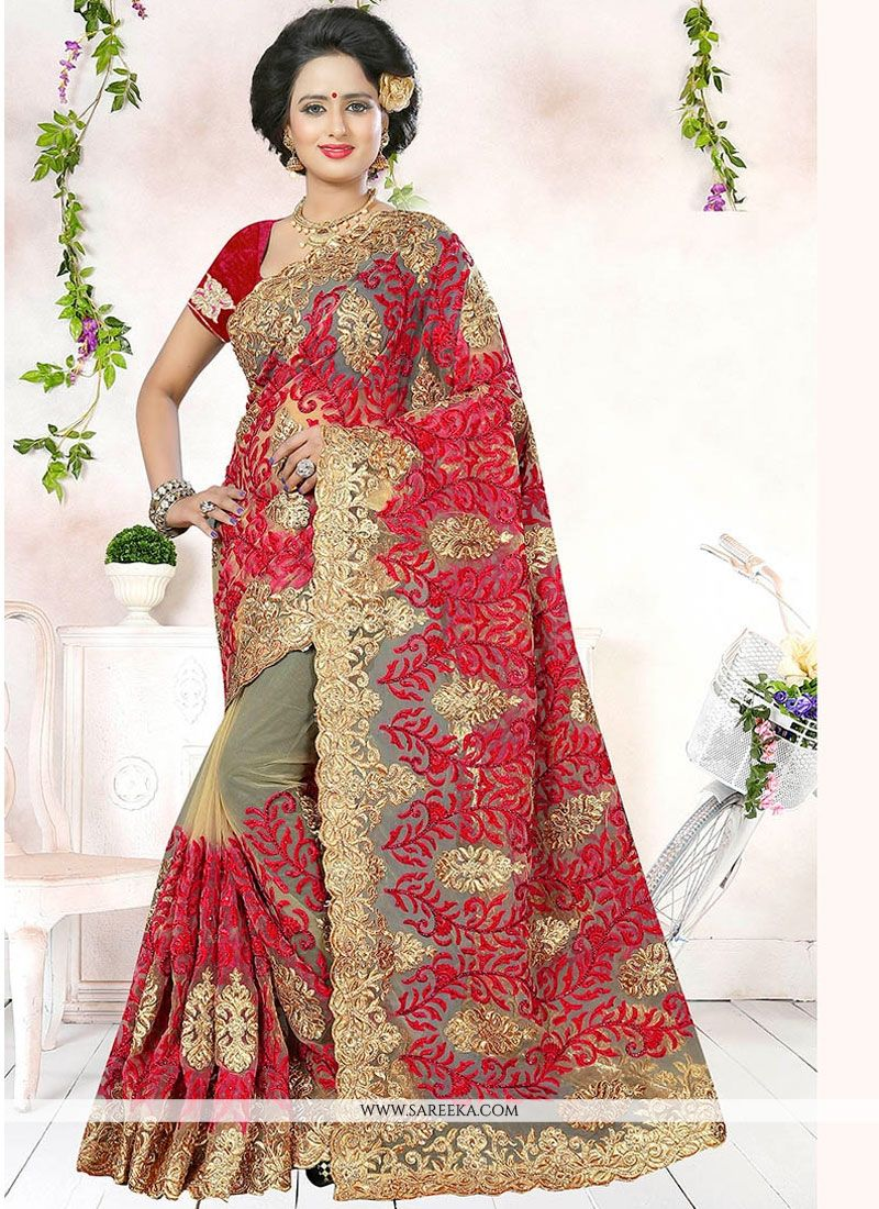 3779e21ce8 Buy Net Red Patch Border Work Traditional Designer Saree Online : USA, UK -
