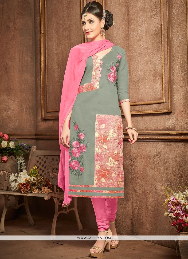 Grey and Pink Churidar Designer Suit