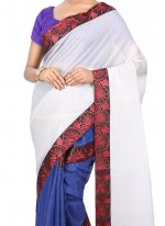 Art Silk Beige and Blue Designer Half N Half Saree