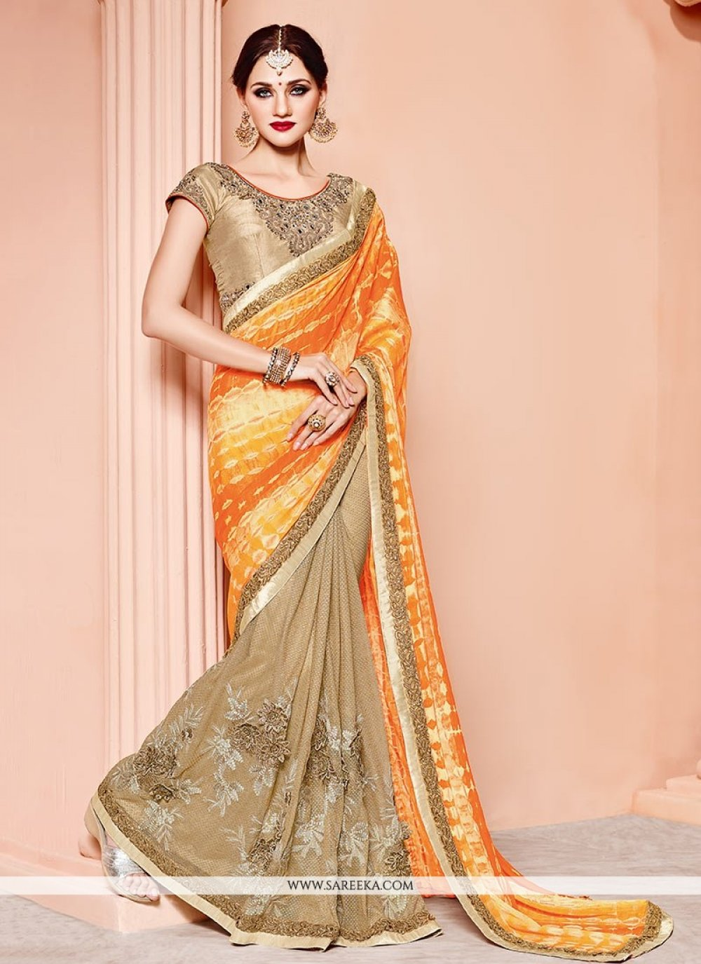Art Silk Beige and Orange Designer Half N Half Saree
