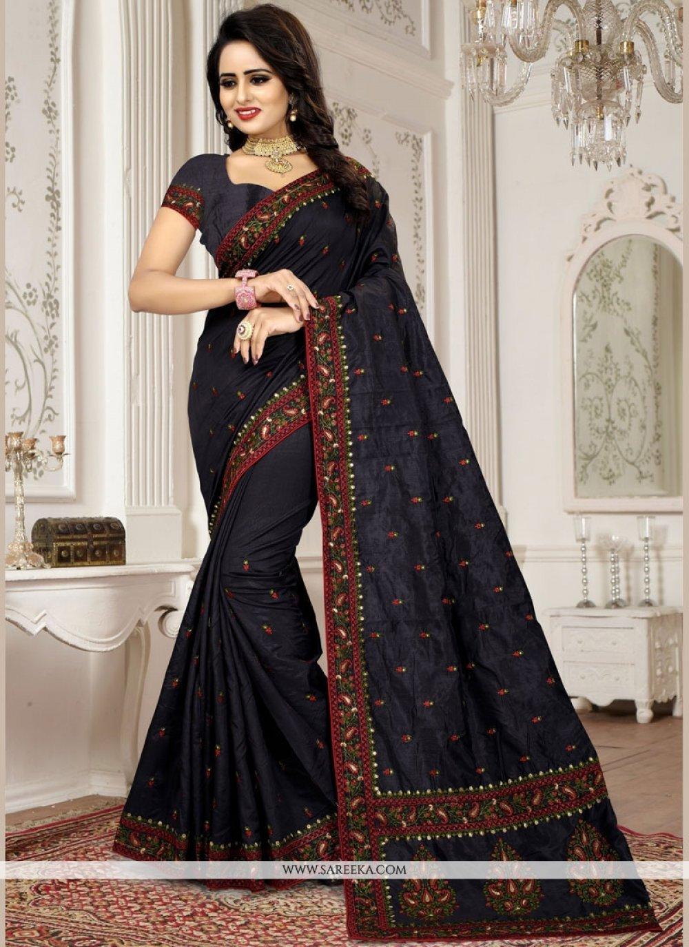 Art Silk Black Patch Border Work Traditional Designer Saree