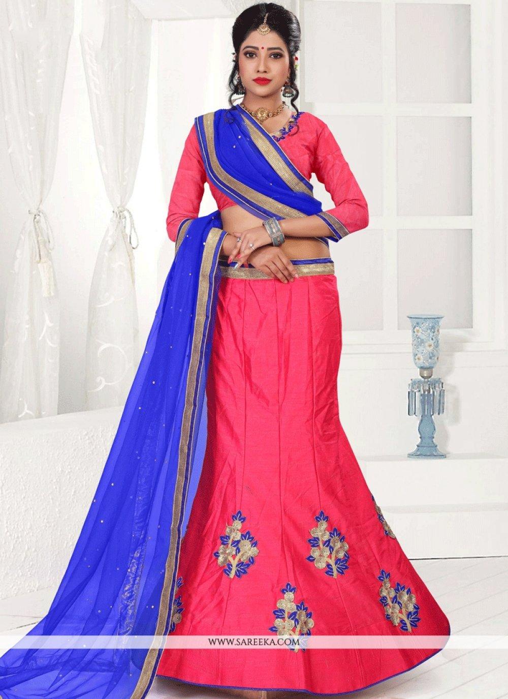 Art Silk Blue and Red Lehenga Choli
