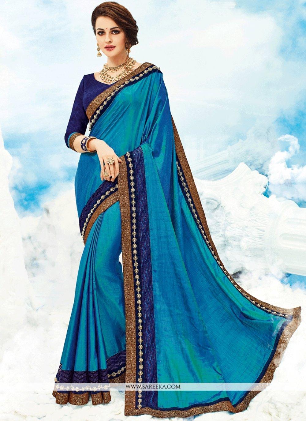 Art Silk Blue Embroidered Work Designer Saree