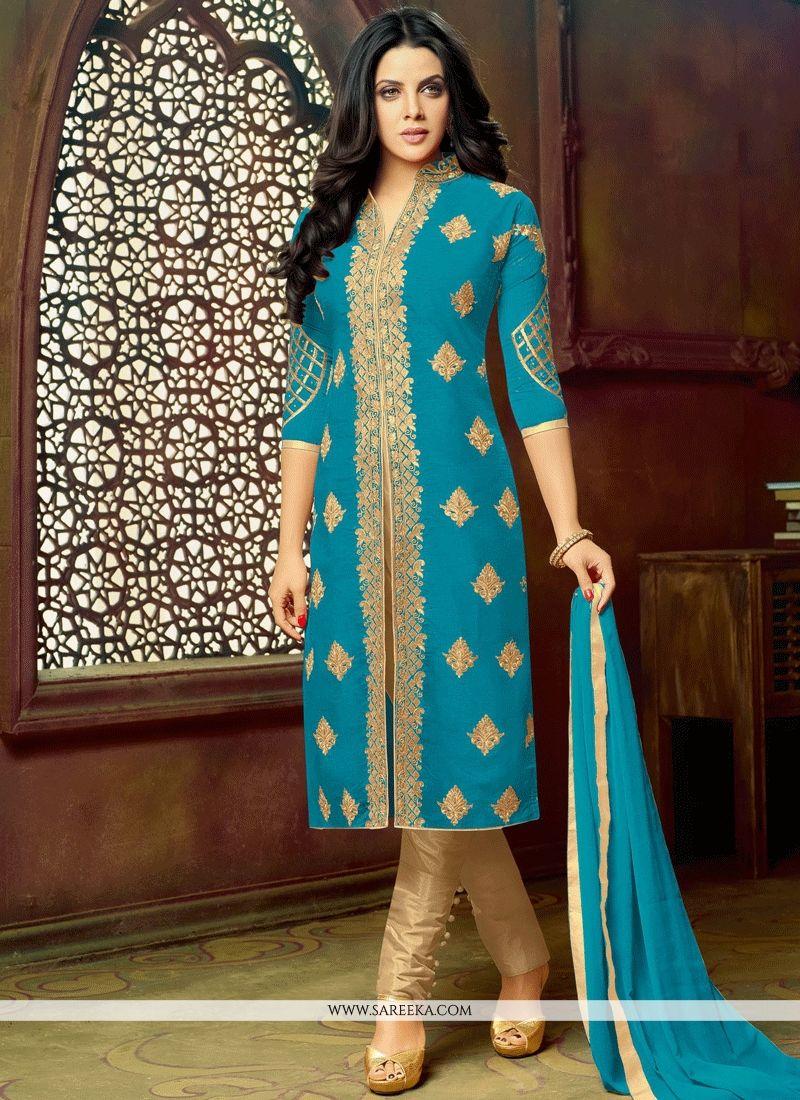 Buy Art Silk Blue Lace Work Pant Style Suit : 63141 - Salwar Kameez