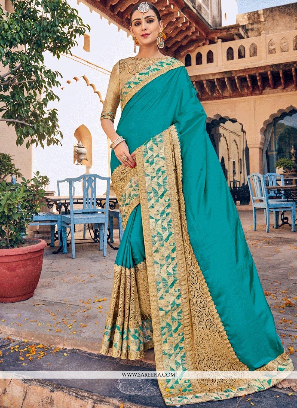 Art Silk Blue Patch Border Work Designer Traditional Saree