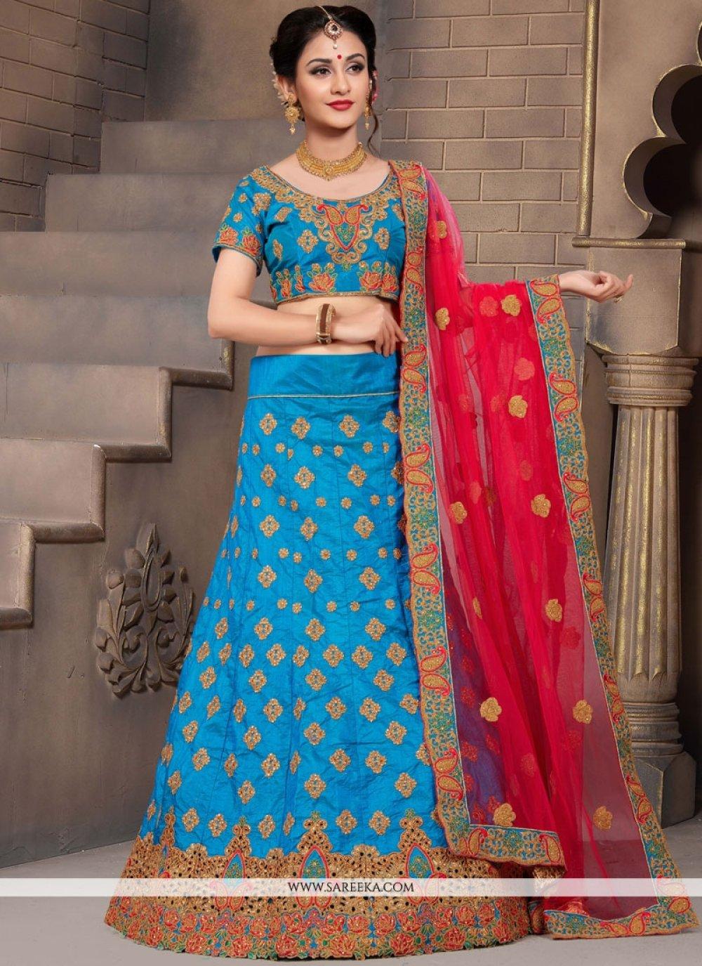 Art Silk Blue Resham Work Lehenga Choli
