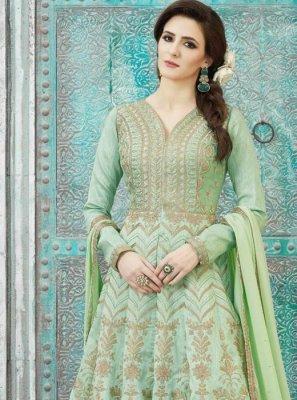 Art Silk Green Floor Length Anarkali Suit