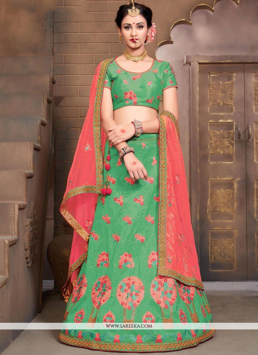 Art Silk Green Resham Work Lehenga Choli