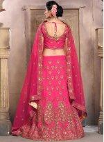 Art Silk Hot Pink Embroidered Work Lehenga Choli