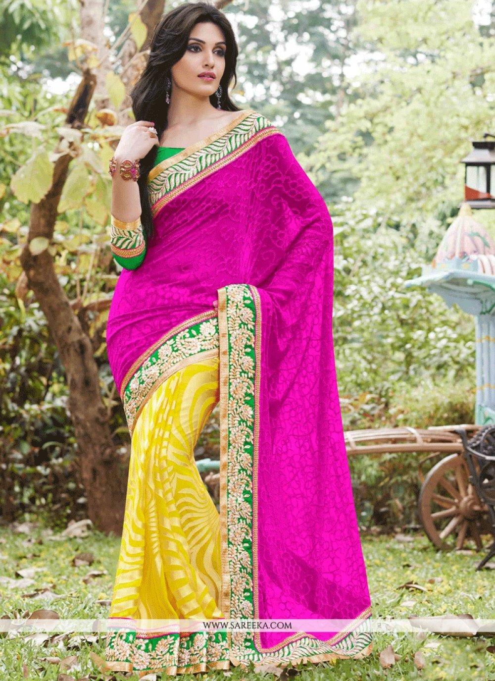 Art Silk Magenta and Yellow Half N Half  Saree