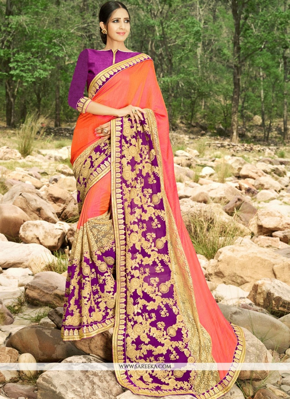 Art Silk Multi Colour Embroidered Work Classic Designer Saree