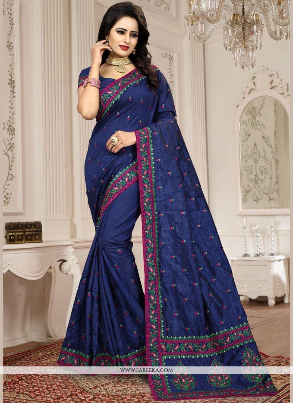 Art Silk Navy Blue Traditional  Saree