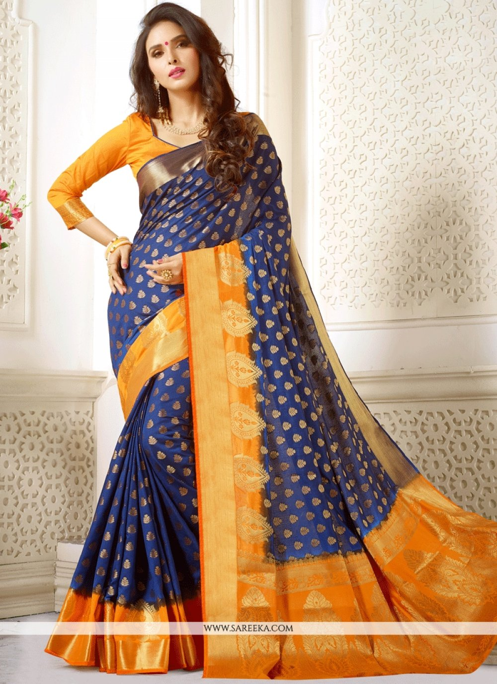 Art Silk Navy Blue Weaving Work Traditional  Saree