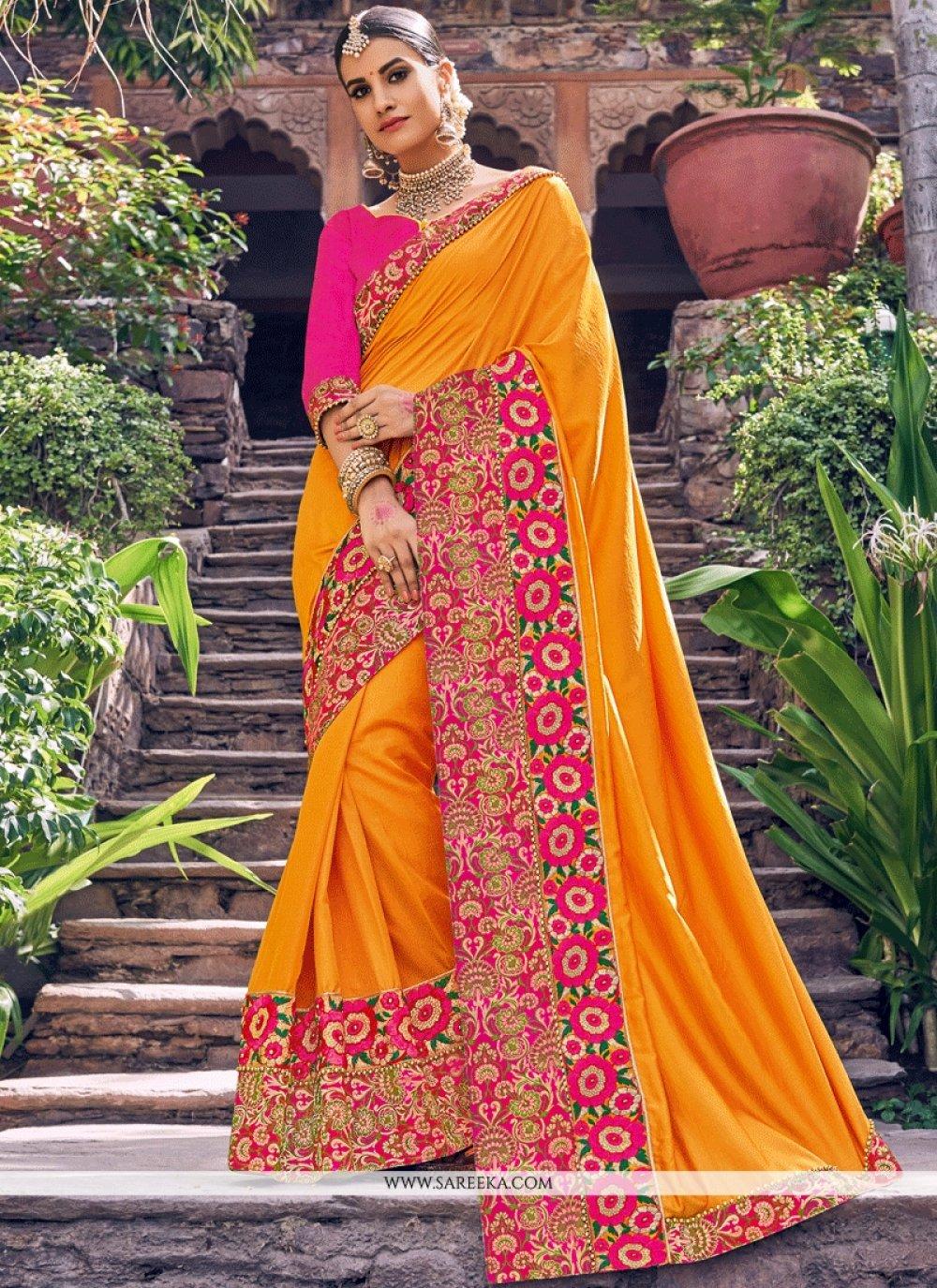 Art Silk Orange Traditional Designer Saree