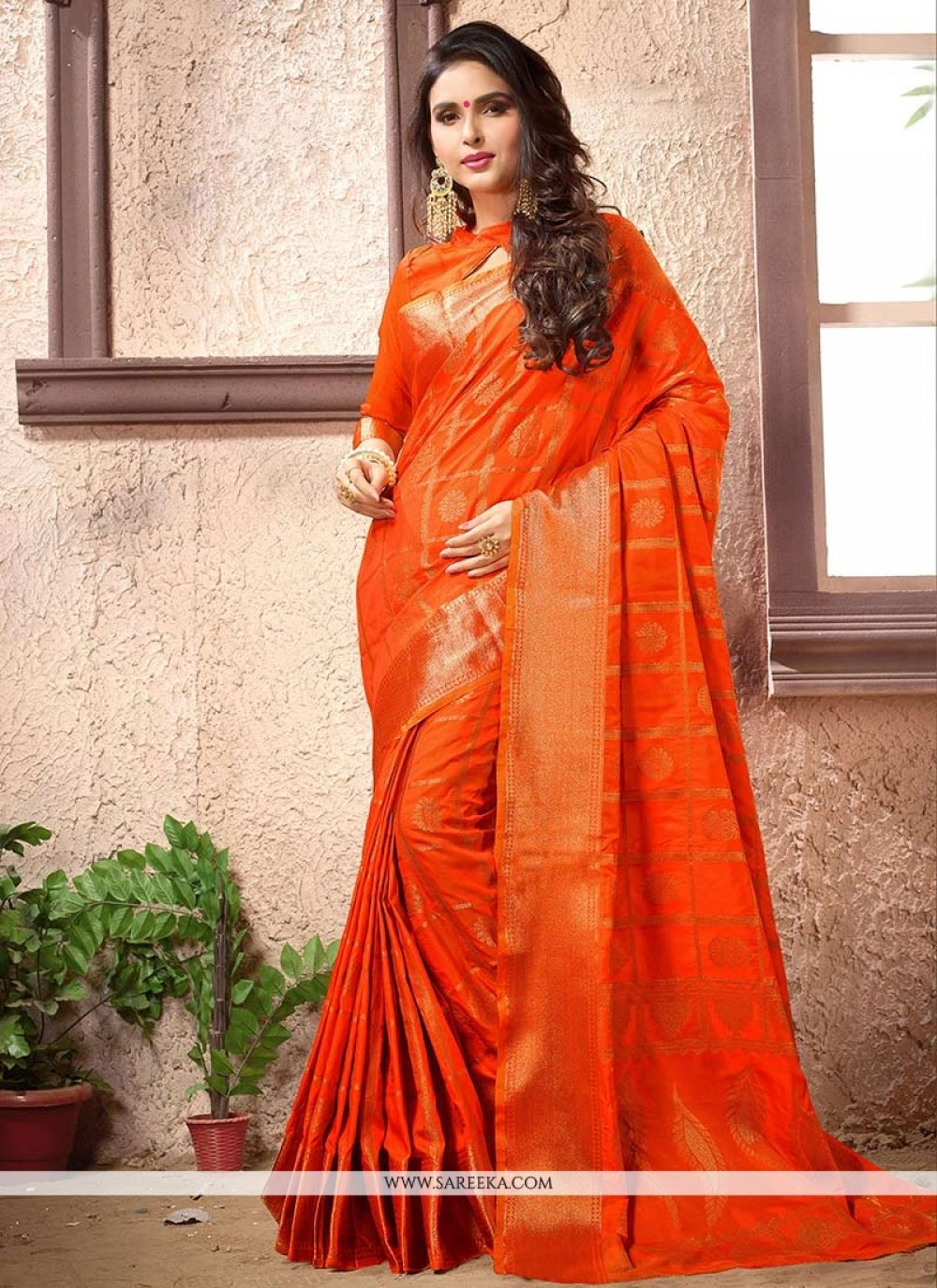 Art Silk Orange Weaving Work Designer Traditional Saree