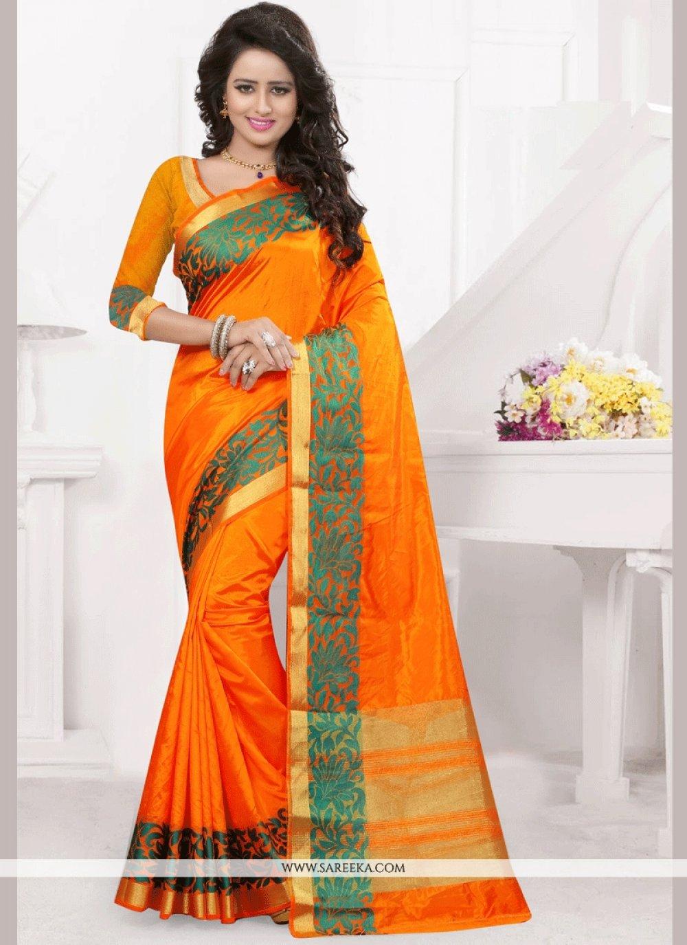 Art Silk Orange woven Work Designer Traditional Saree