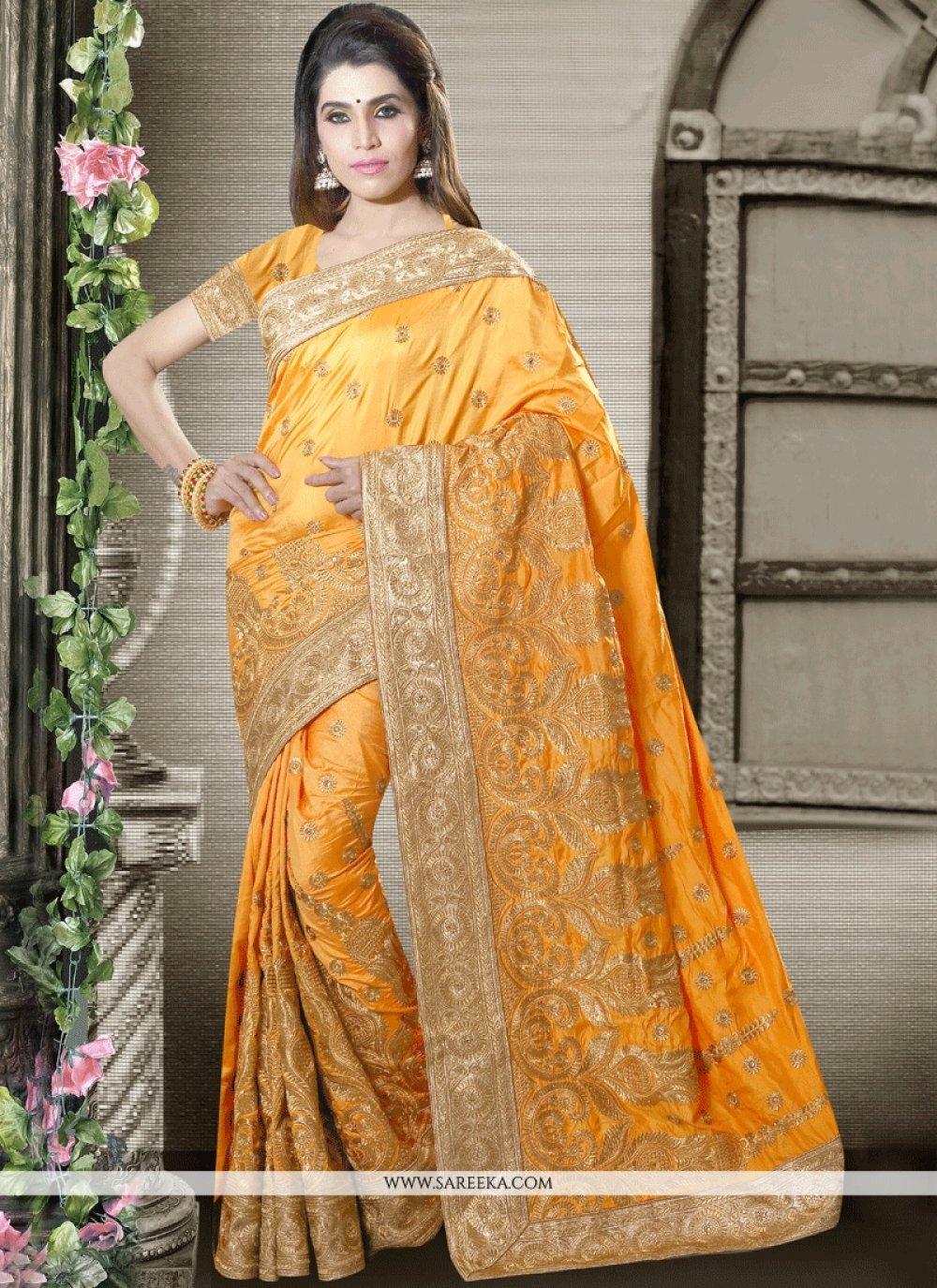 Art Silk Patch Border Work Traditional Designer Saree