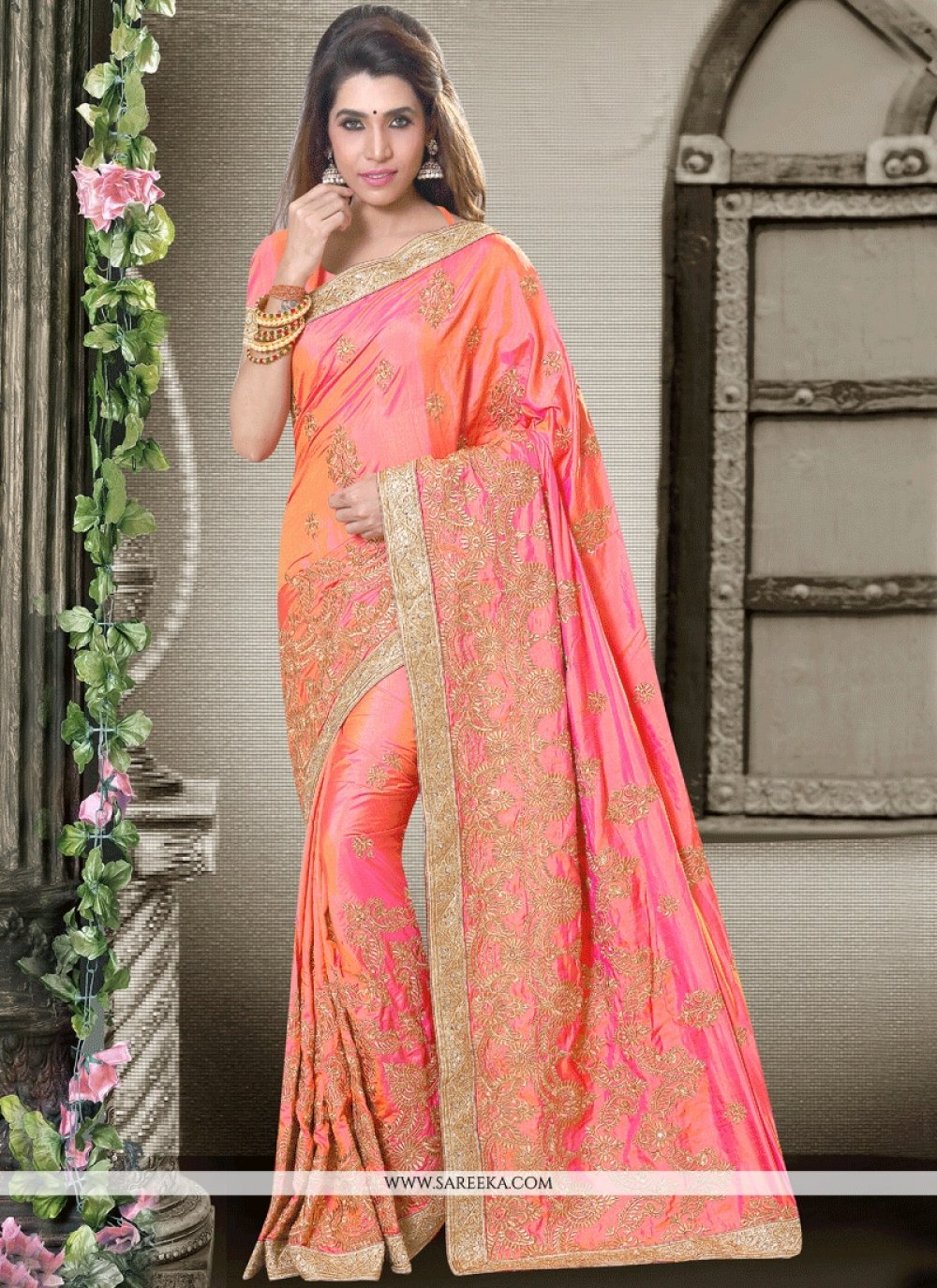 Art Silk Peach and Pink Embroidered Work Shaded Saree