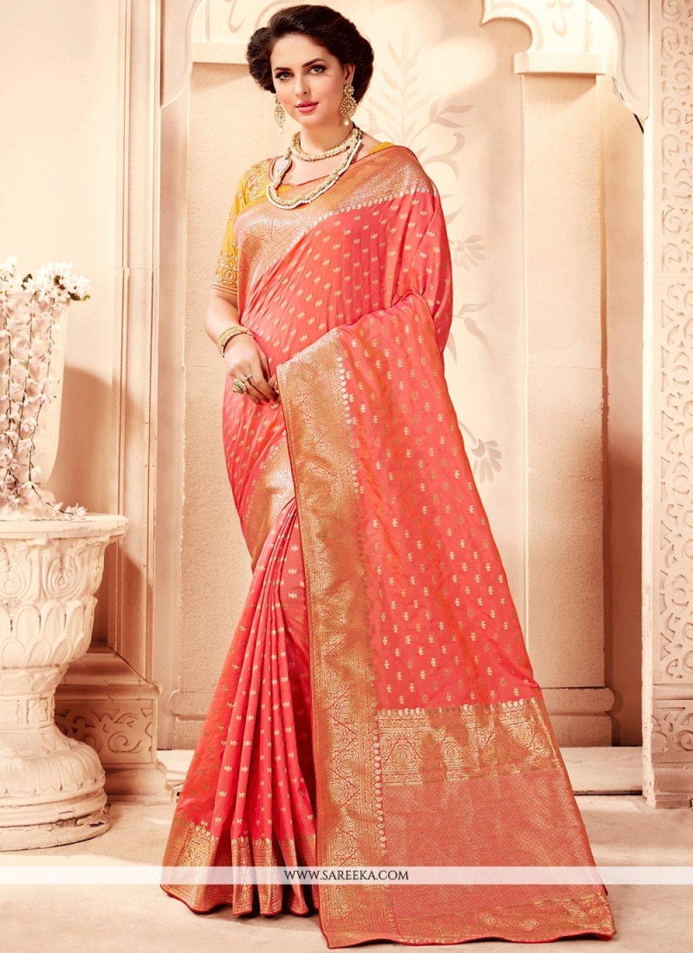 Art Silk Peach Traditional Designer Saree