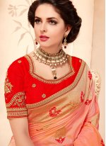 Art Silk Peach Weaving Work Designer Traditional Saree