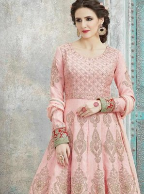 Art Silk Pink Resham Work Floor Length Anarkali Suit