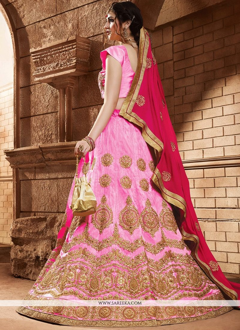 Art Silk Pink Zari Work Lehenga Choli
