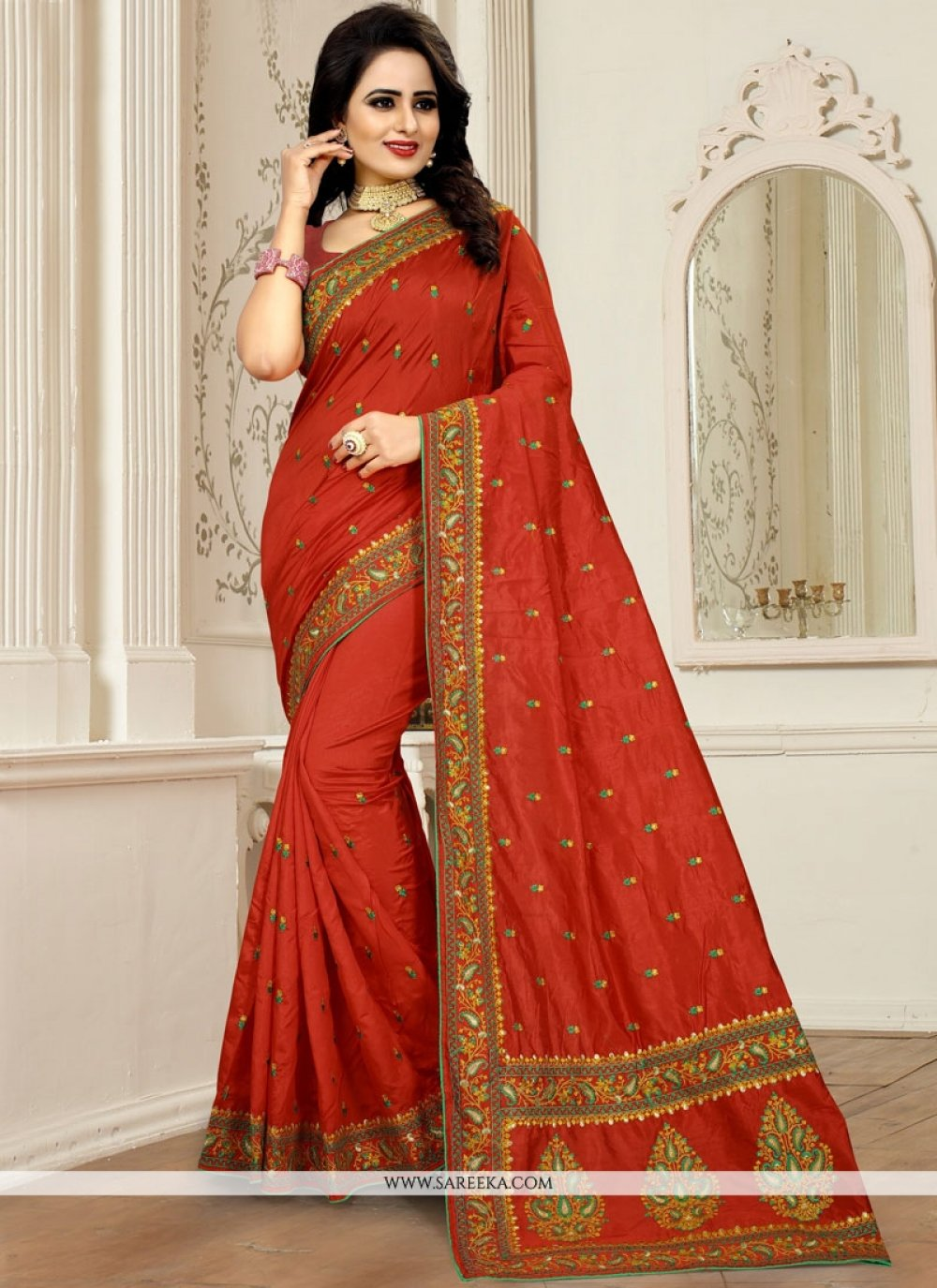Art Silk Red Designer Traditional Saree