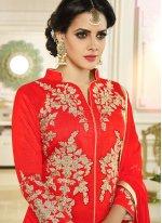 Art Silk Red Long Choli Lehenga
