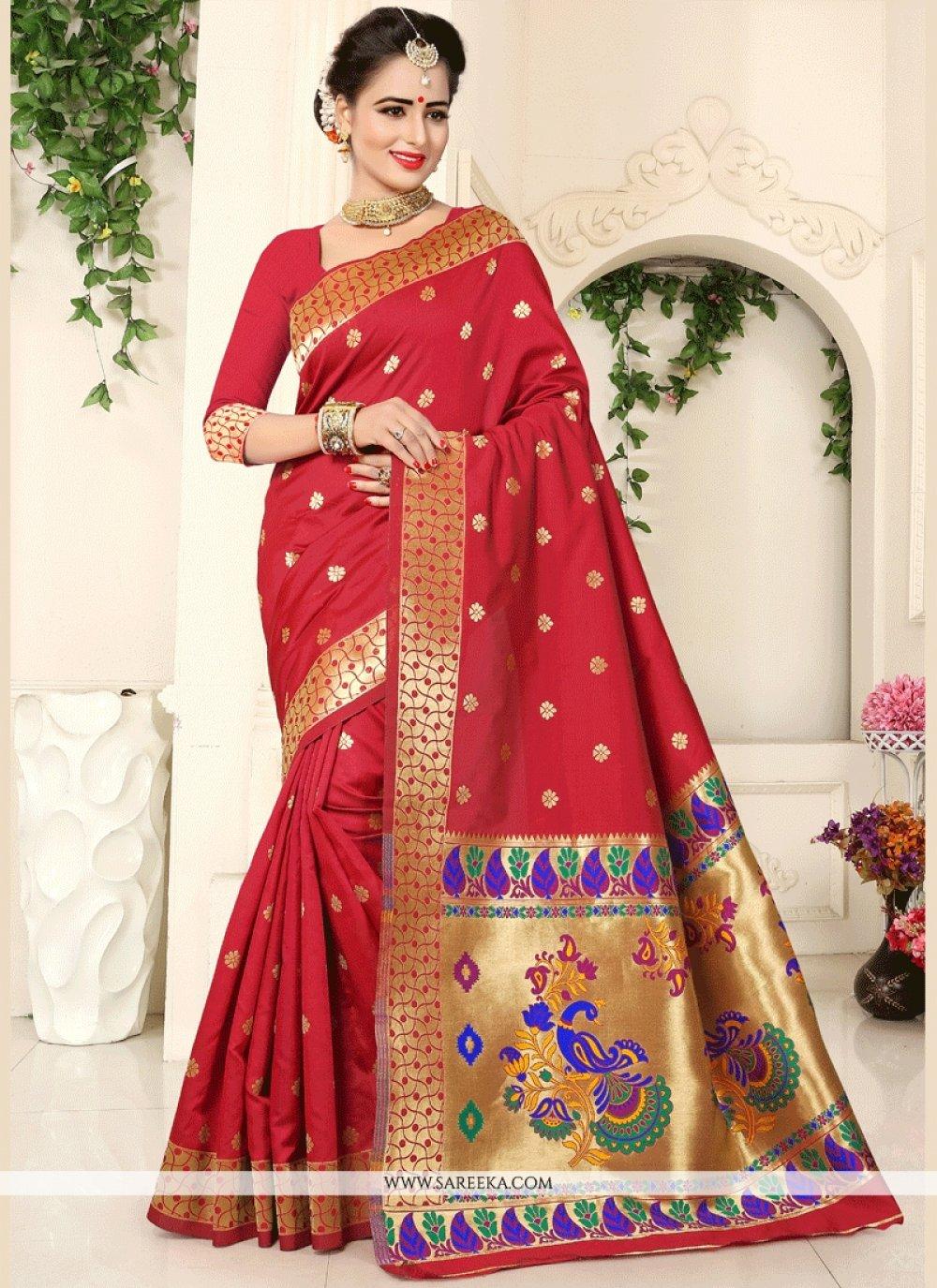 Art Silk Red Traditional  Saree