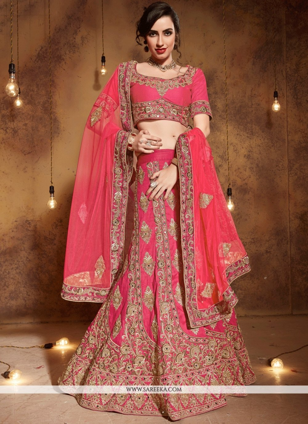 Art Silk Rose Pink Embroidered Work Lehenga Choli