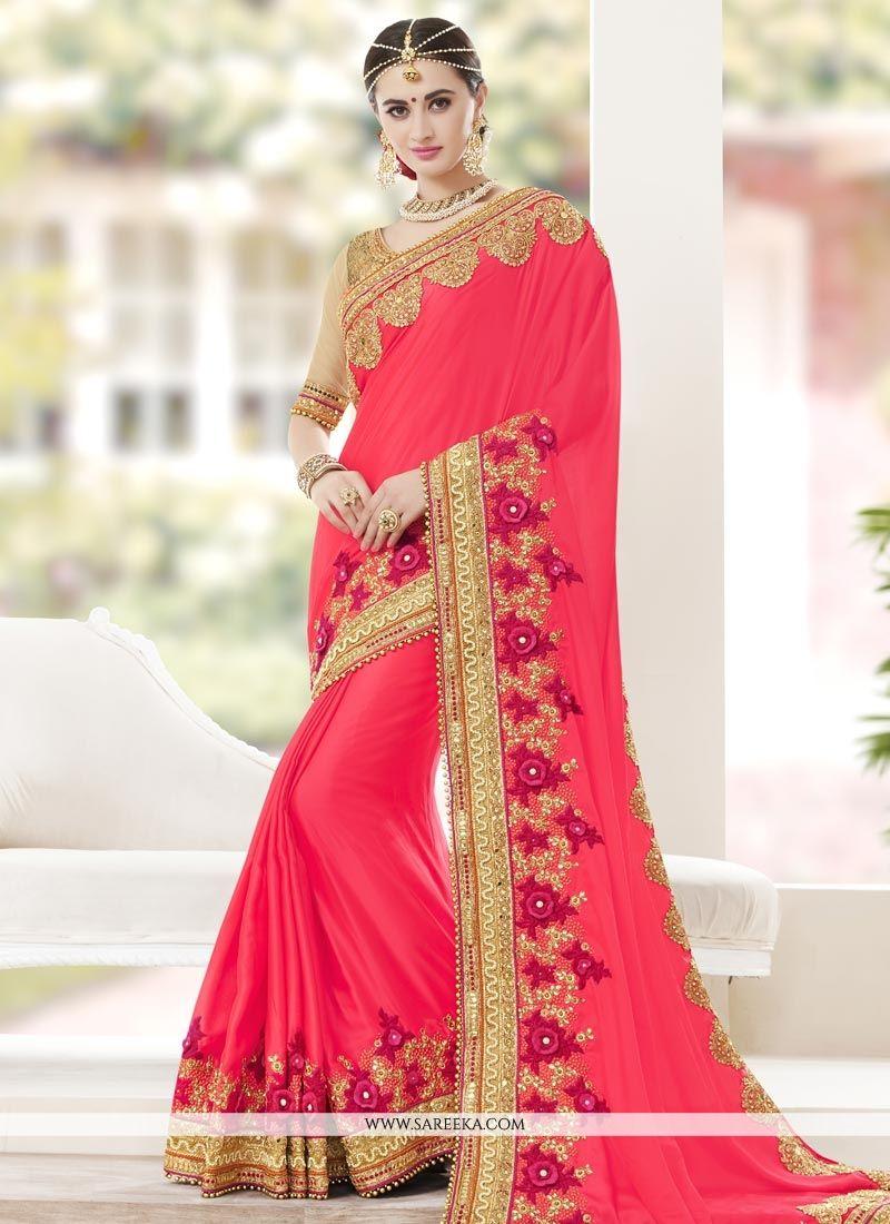 Art Silk Rose Pink Zari Work Classic Designer Saree