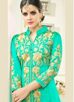 Art Silk Sea Green Long Choli Lehenga