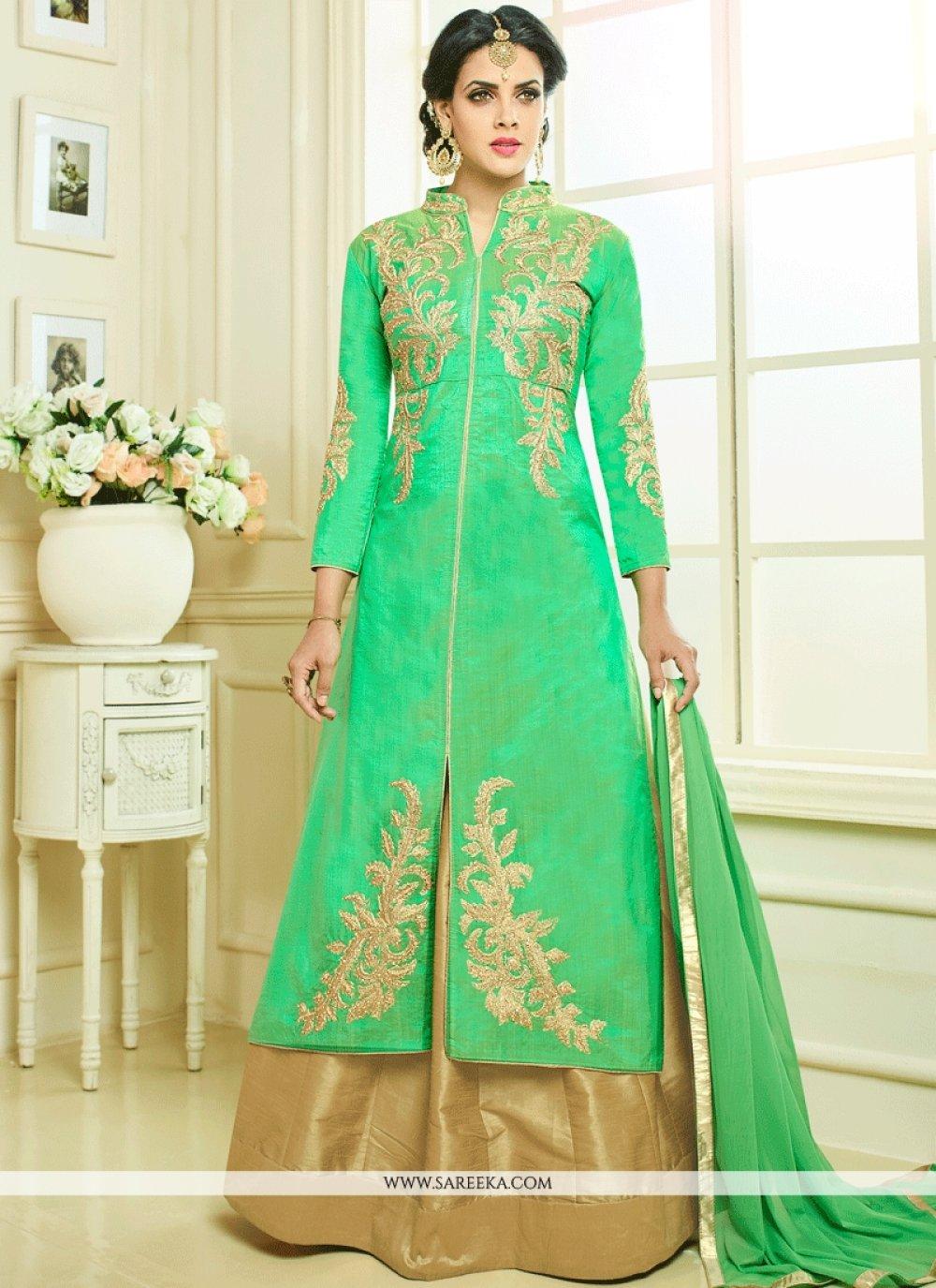 Art Silk Sea Green Long Choli Lehenga