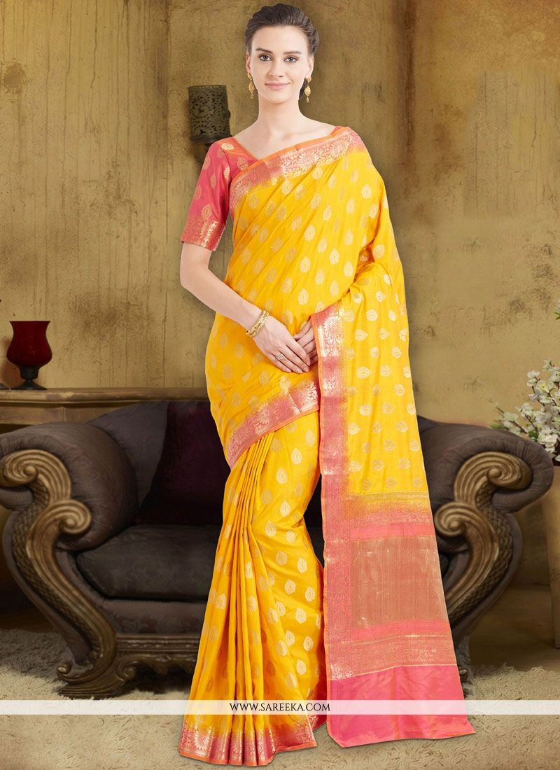 Art Silk Yellow Traditional Designer Saree