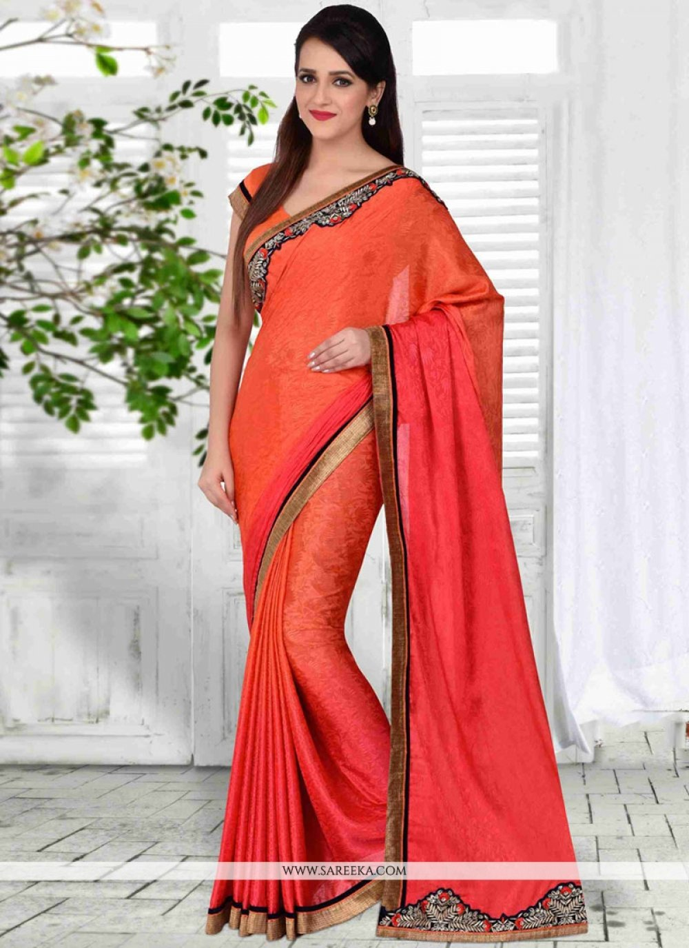 Jacquard Silk Embroidered Work Shaded Saree