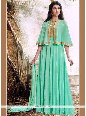 Lace Work Turquoise Faux Georgette Designer Floor Length Suit