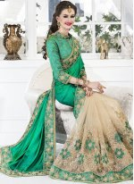 Zari Work Cream and Sea Green Art Silk Designer Half N Half Saree