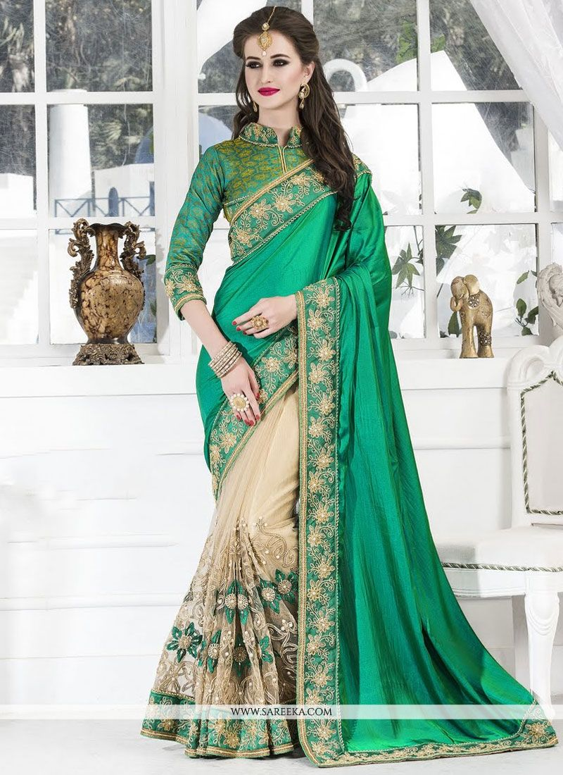 Zari Work Cream and Sea Green Art Silk Designer Half N Half Saree
