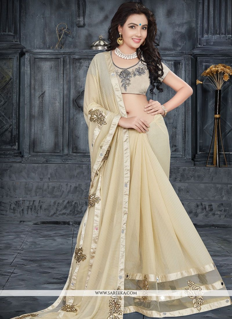 Faux Georgette Beige Patch Border Work Classic Saree