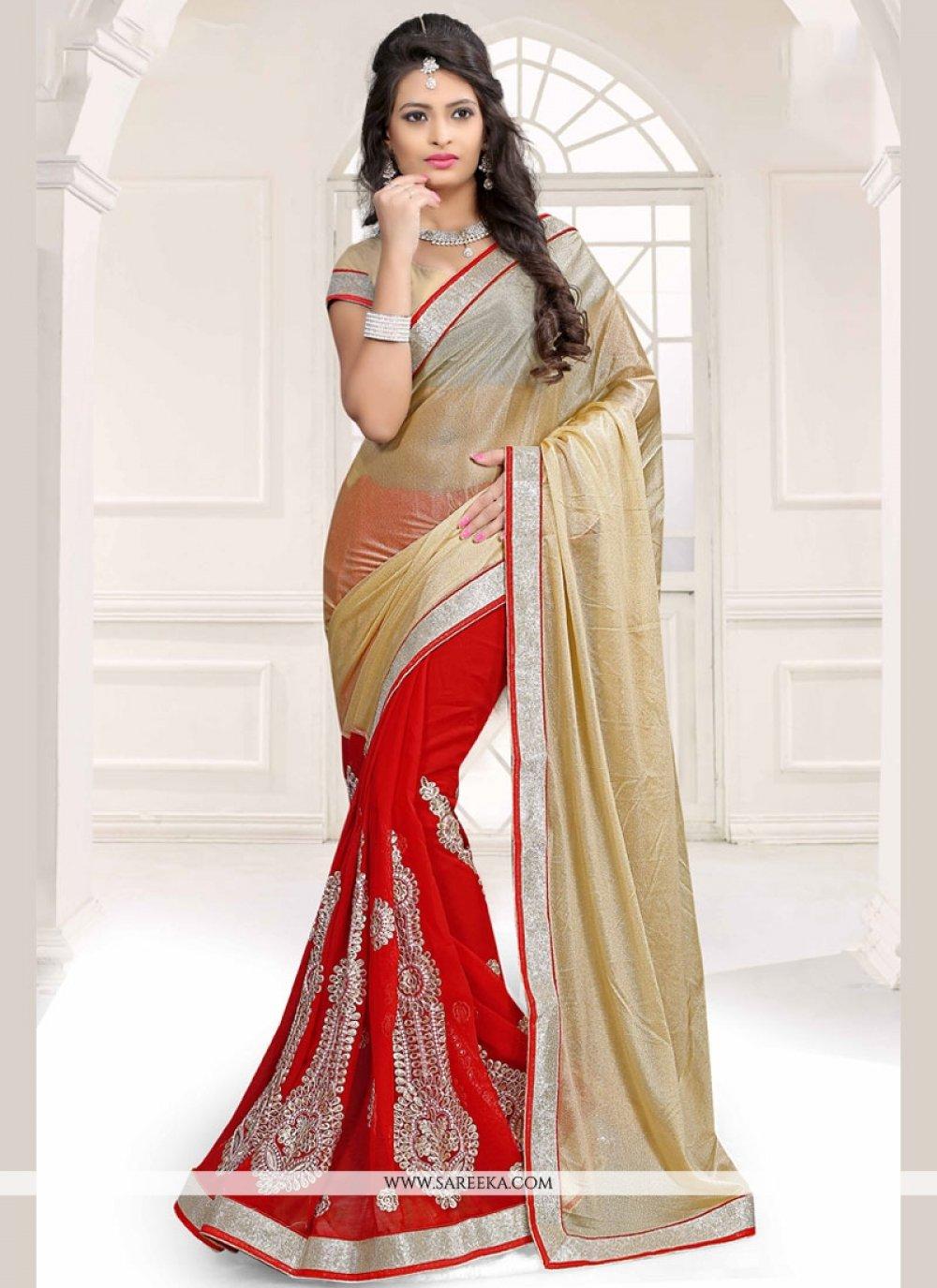 Gold and Red Half N Half Designer Saree